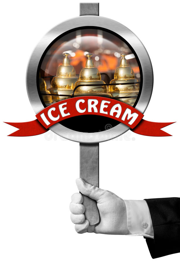 Ice Cream - Sign with Hand of Chef royalty free illustration