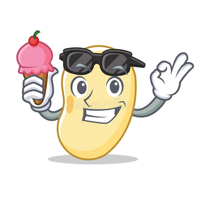 With ice cream soy bean character cartoon. Vector illustration royalty free illustration