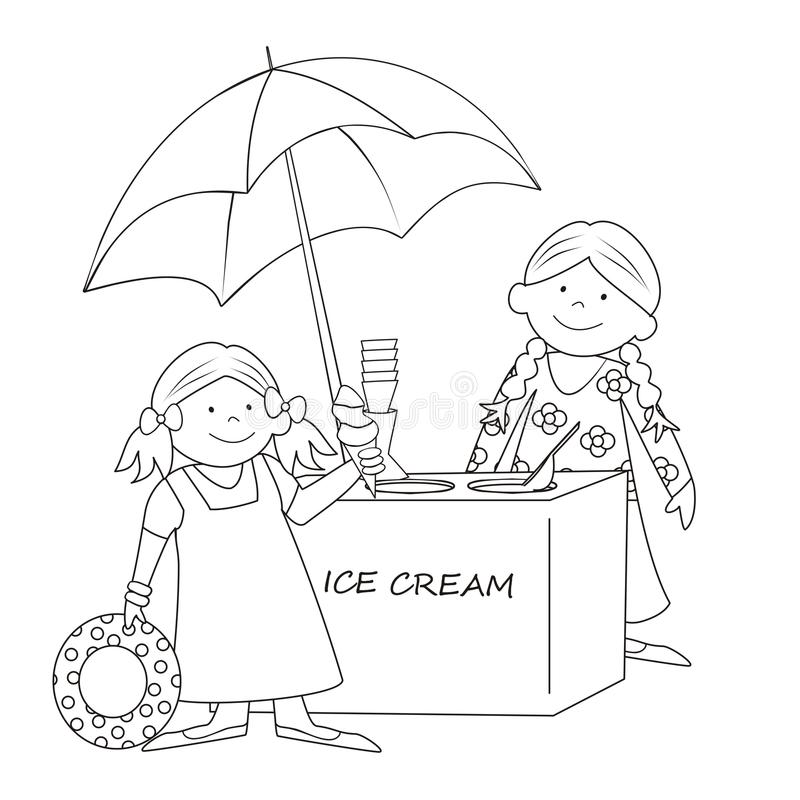 Download Ice cream stand-coloring stock vector. Image of card - 32039905