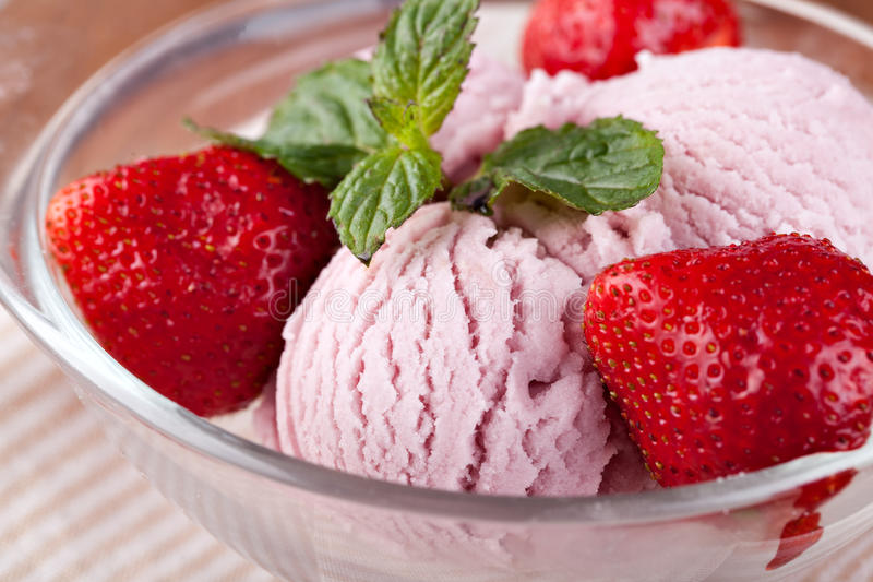 Ice cream with strawberries royalty free stock images