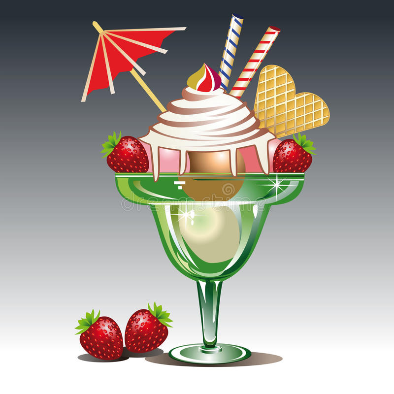 Ice cream with strawberry royalty free illustration