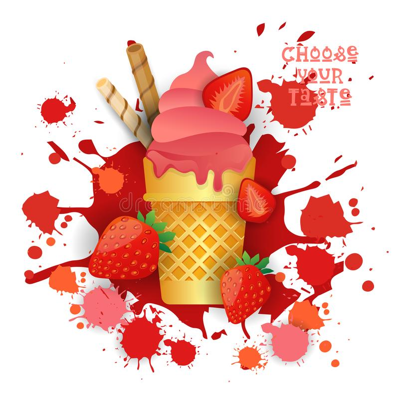 Ice Cream Strawberry Cone Colorful Dessert Icon Choose Your Taste Cafe Poster vector illustration