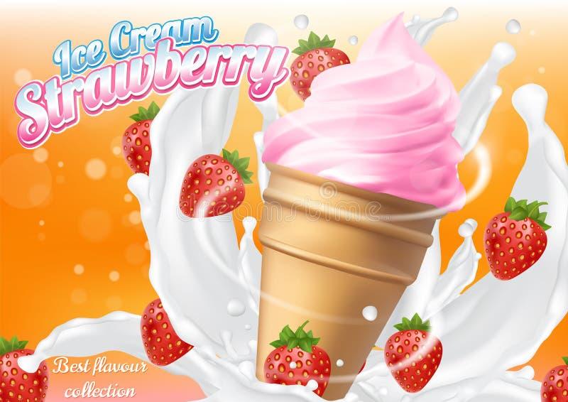 Ice cream strawberry cone dessert vector realistic illustration. Dairy product with fresh and ripe strawberry, milk splashes. Ice cream ad design template vector illustration