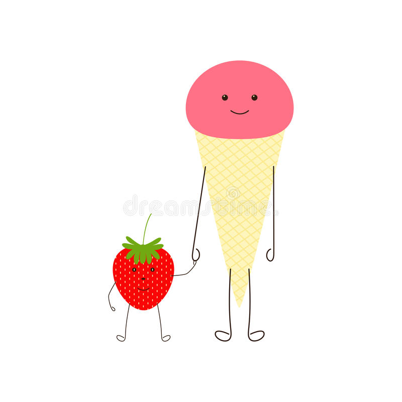 Ice cream and strawberry royalty free illustration
