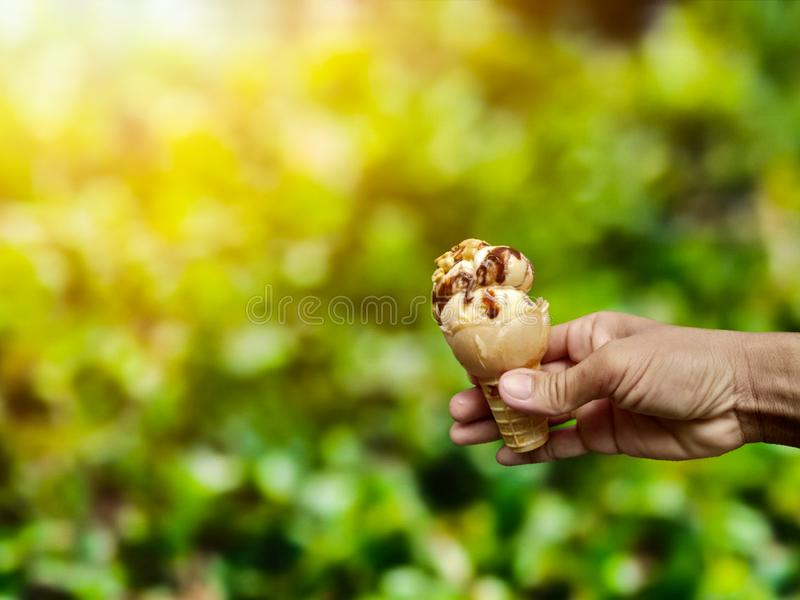 Ice cream is suitable for hot days. stock photos