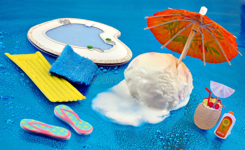 Ice Cream Summer. Scoop of vanilla ice cream trying to stay cool in the summertime royalty free stock images