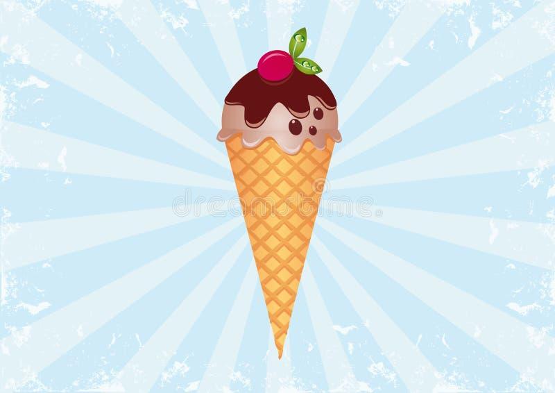 Ice Cream on Sunburst Background 1 royalty free stock image