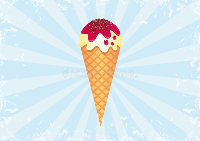 Ice Cream on Sunburst Background 2 royalty free stock images