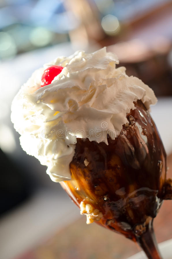 Ice cream sundae. Close up, angled to the right stock photography