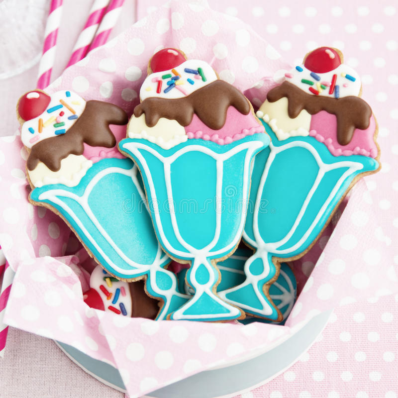 Ice cream sundae cookies royalty free stock image