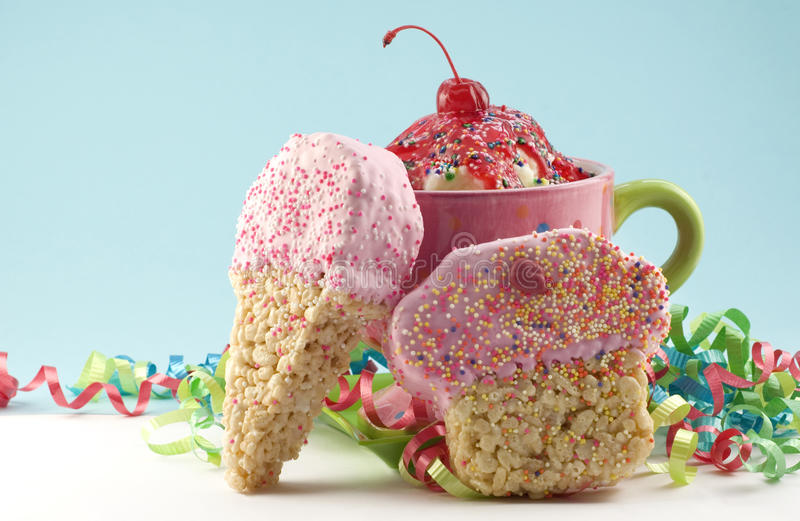 Ice Cream Sundae and Crispy Treat Dessert royalty free stock photos