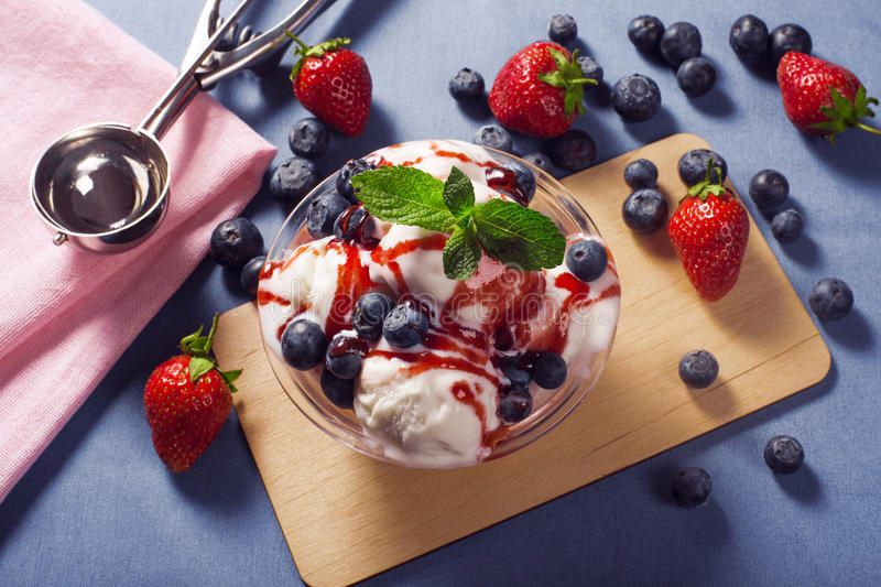 Ice cream sundae. With fruits royalty free stock photos
