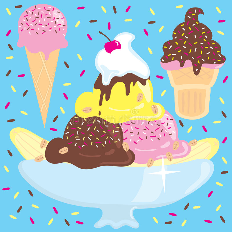 Ice Cream Cones Background Royalty Free Vector Image: Ice Cream Sundae With Ice Cream Cones Stock Vector