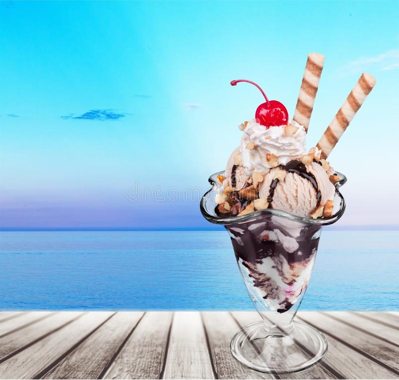 Ice cream sundae stock photography