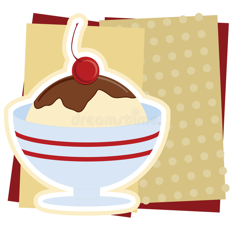 Ice Cream Sundae Illustration stock illustration