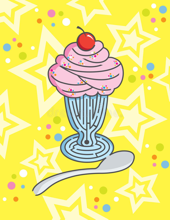Ice Cream Sundae Maze with Colourful background. A tantalizing challenge of guiding your spoon to to the delicious cherry on top vector illustration