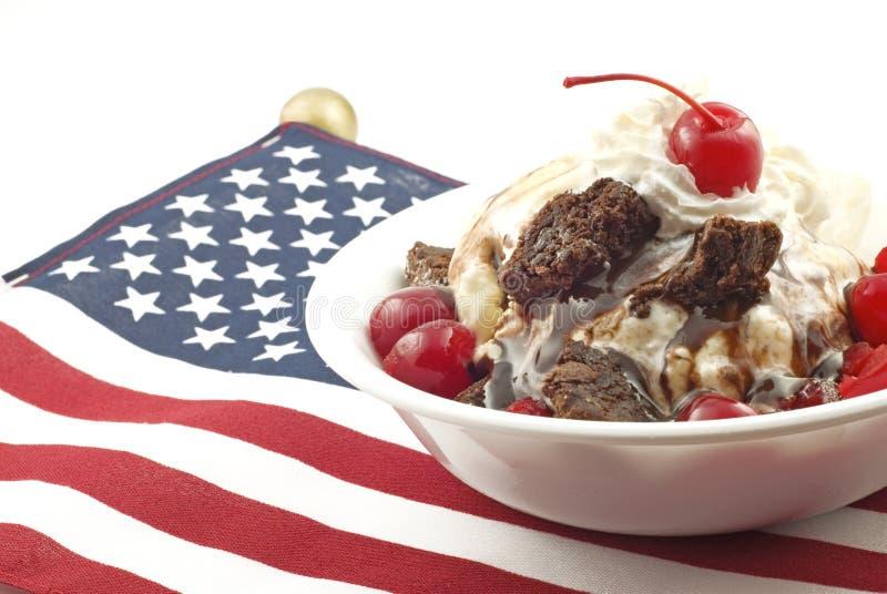 Ice Cream Sundae with Patriotic Theme royalty free stock photography