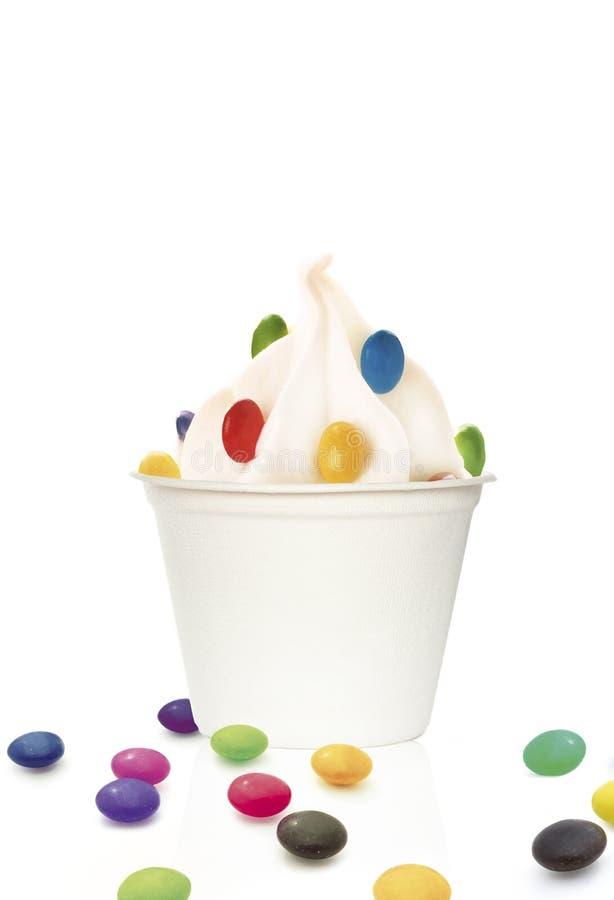 Ice cream sundae. With peanuts stock photos