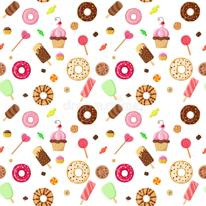Sweet Ice Cream Flat Colorful Seamless Pattern Vector: Ice Cream Sweet Dessert Donut Cookie Pattern Vector Flat