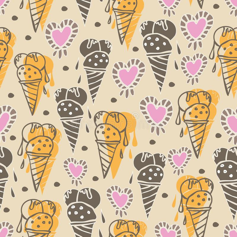 Ice Cream-Sweet Dreams seamless repeat pattern illustration.Background in yellow, pink, cream and brown royalty free illustration