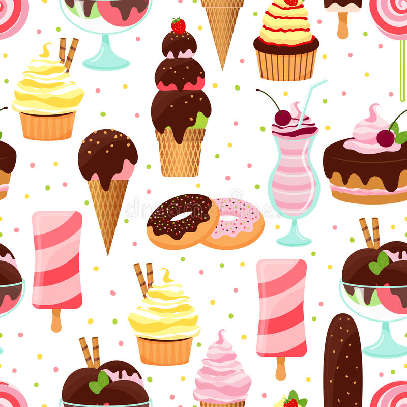 Seamless Ice Cream Background Vintage Style: Ice Cream And Sweets Seamless Pattern Stock Vector