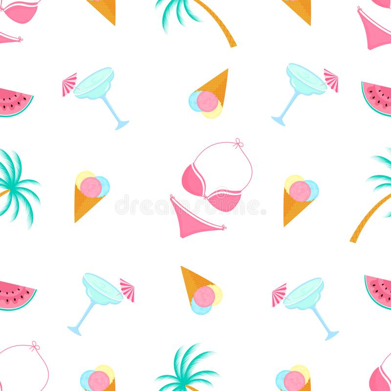 Ice-cream, swimsuit, palm tree, margarita. Summer seamless pattern. Used for design surfaces, fabrics, textiles, packaging paper,. Ice-cream, swimsuit, palm tree royalty free illustration