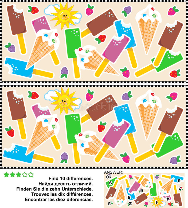Ice cream themed find the differences visual puzzle royalty free illustration