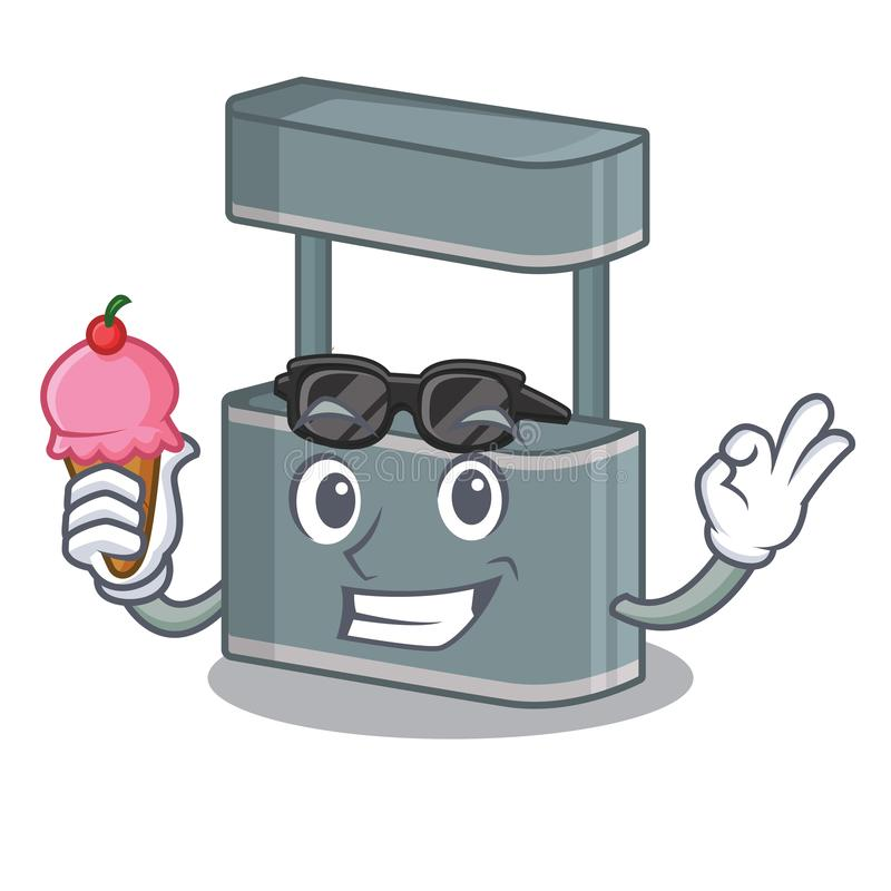 With ice cream trade stand in the character shape. Vector illustraton royalty free illustration