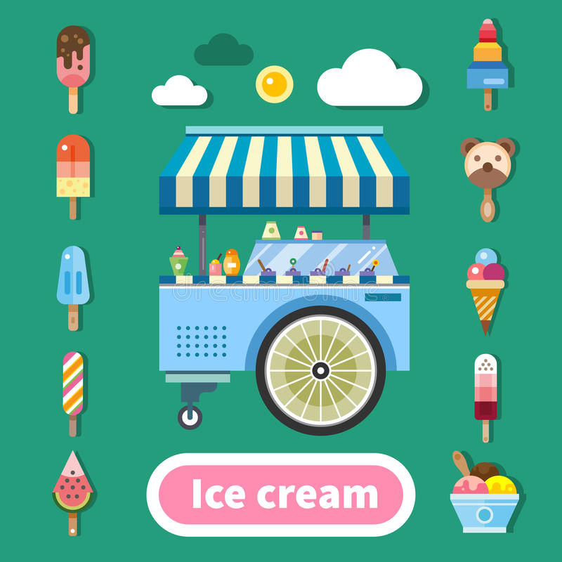 Ice cream trolley on a hot sunny day. Delicious sweets in assortment. Kinds of ice cream. Color vector flat illustration royalty free illustration
