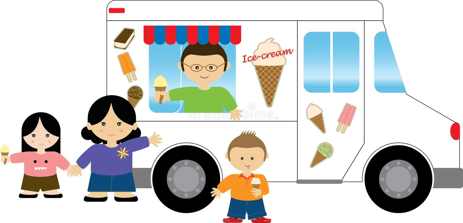 ice cream truck stock illustration illustration of woman 12875387 rh dreamstime com ice cream truck clipart black and white Eating Ice Cream Clip Art