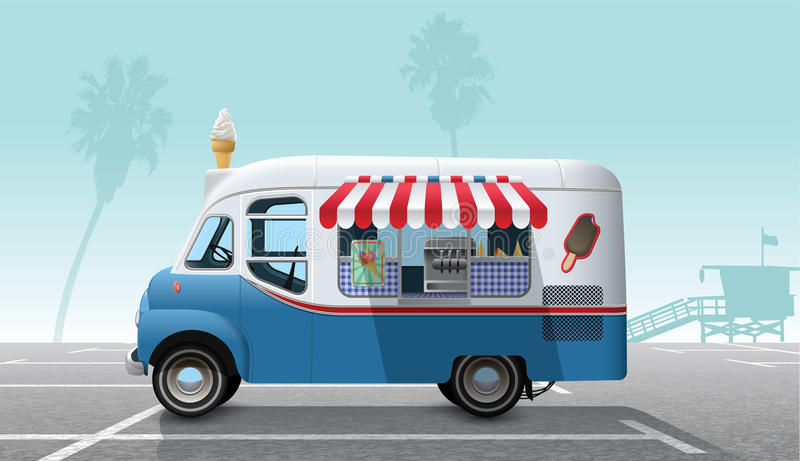 Ice cream truck. On beach vector illustration