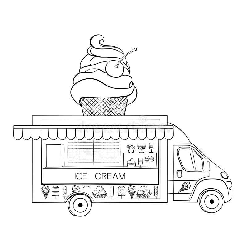 Ice Cream Truck Car Stock Vector. Illustration Of Cartoon - 179286210