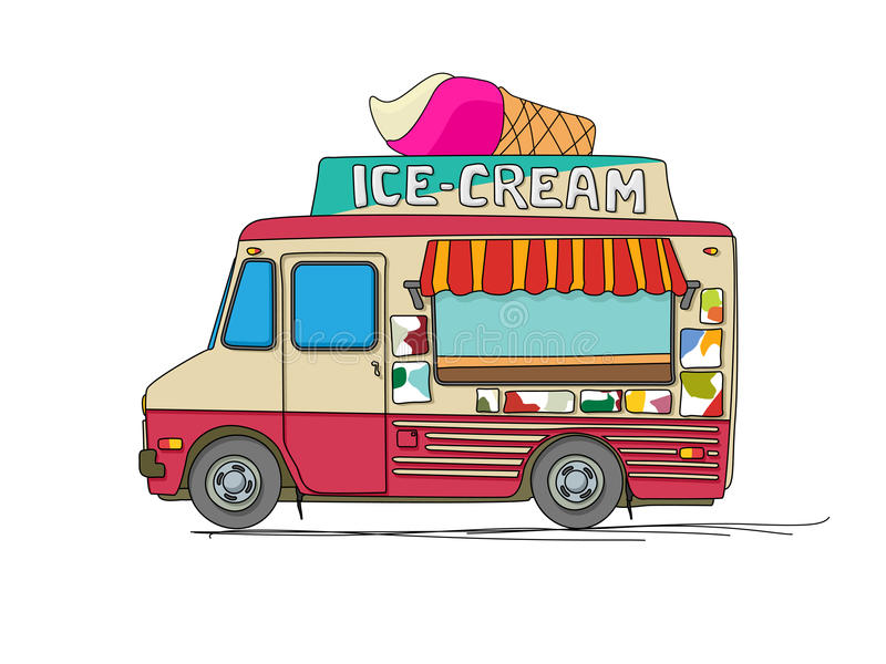 Ice cream truck. Cartoon drawing over white vector illustration