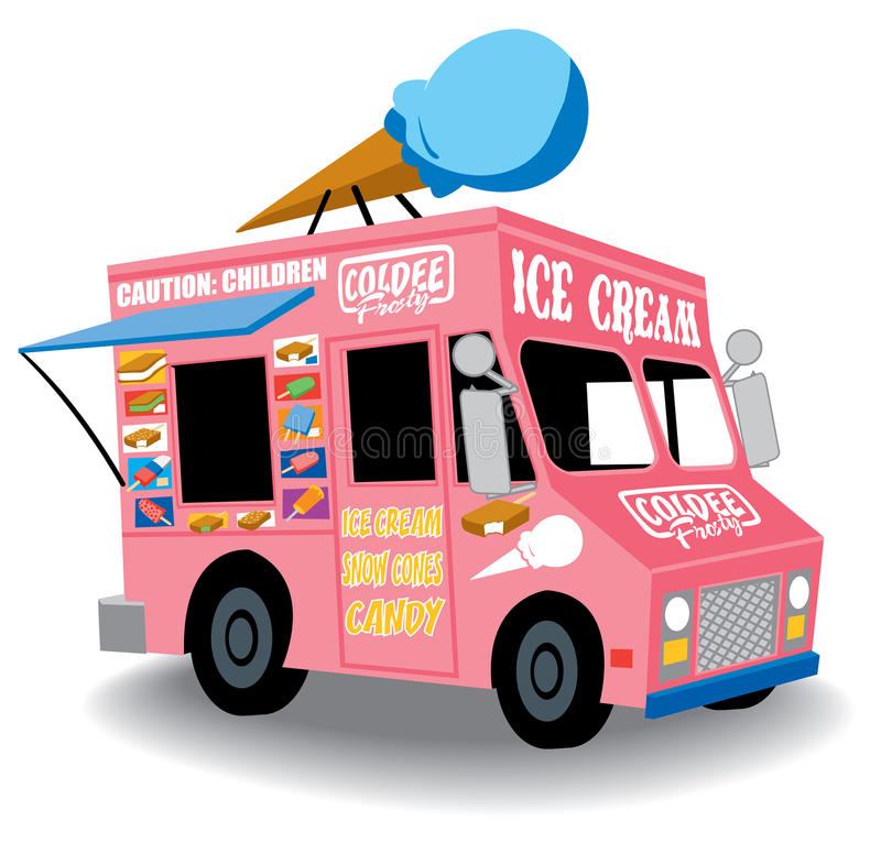 Ice cream truck. Colorful and Playful Ice Cream Truck with Ice Cream cone on top stock illustration