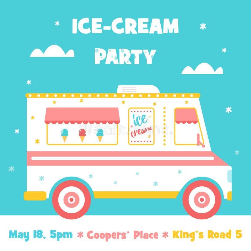 Ice Cream Truck. Party Invitation Stock Vector - Illustration of ...