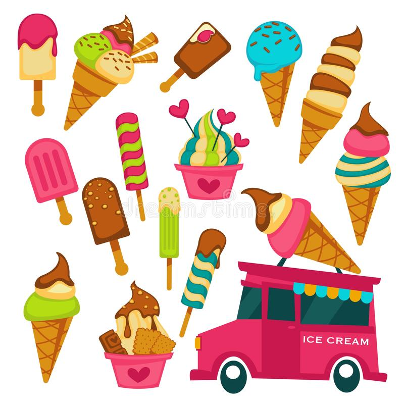 Ice cream truck summer dessert waffle cone and stick. Summer dessert ice cream truck waffle cone and stick vector chocolate vanilla icing fruit flavor eskimo and vector illustration