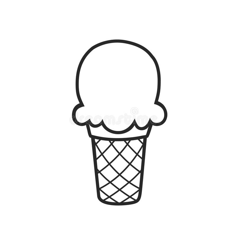 Ice Cream Clean Black Outline Vector for Coloring stock illustration