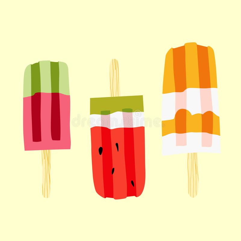 Ice cream vector illustration set. Three colorful popsicles. stock illustration