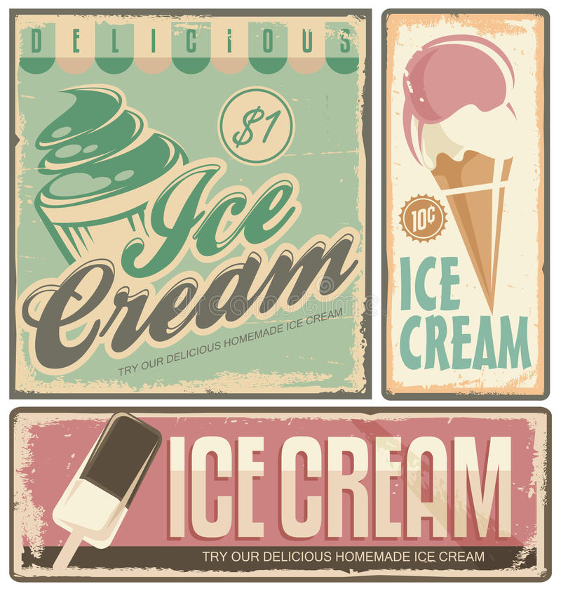 Ice cream. Vintage metal signs set