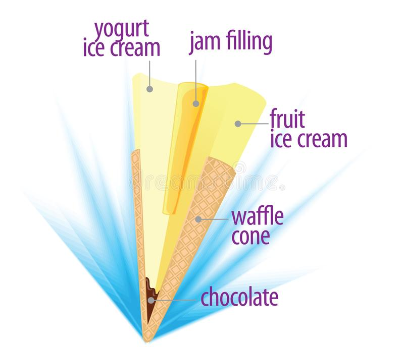 Ice cream in waffle cone cross section view stock photos