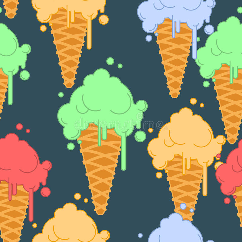 Ice cream in waffle cone seamless pattern. Cold dessert texture. Strawberry, pistachio and banana taste vector illustration