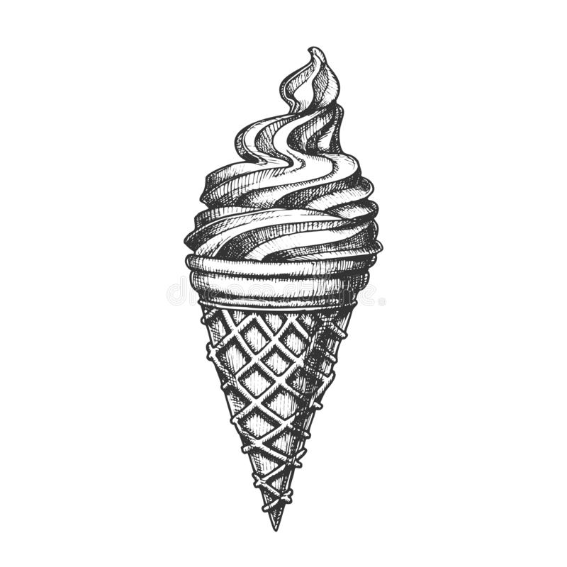 Ice Cream In Waffle Cornet Snow Cone Ink Vector royalty free illustration