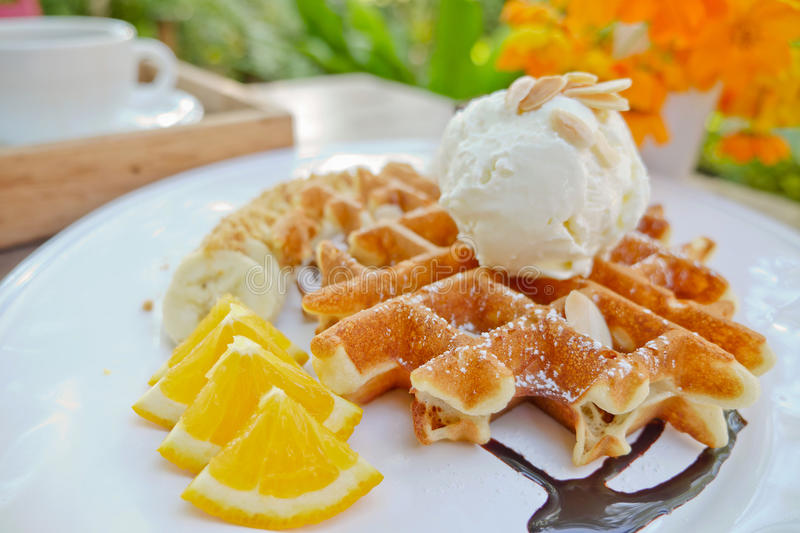 Ice cream waffles royalty free stock images