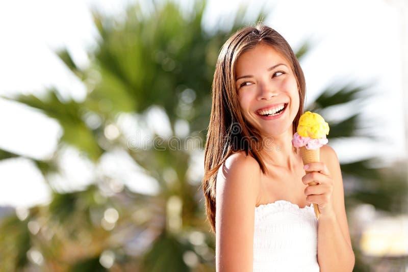 Ice cream woman looking