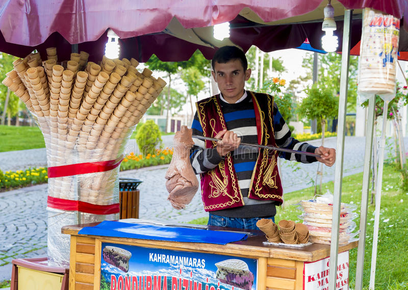 Ice cream worker in Turkey royalty free stock photography