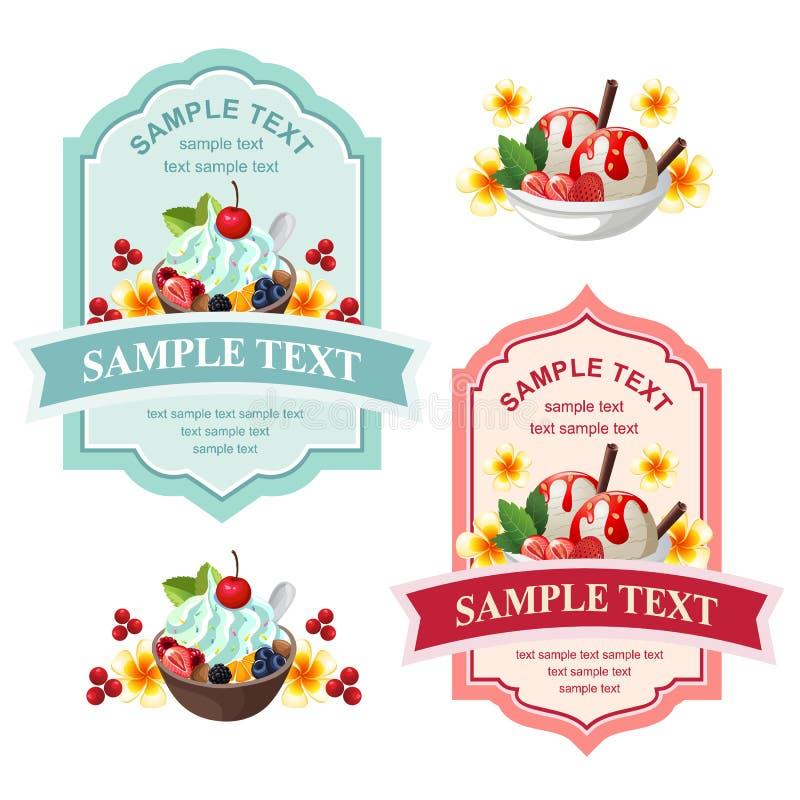 Ice Cream And Yogurt Cute Label Stock Vector - Illustration of ...