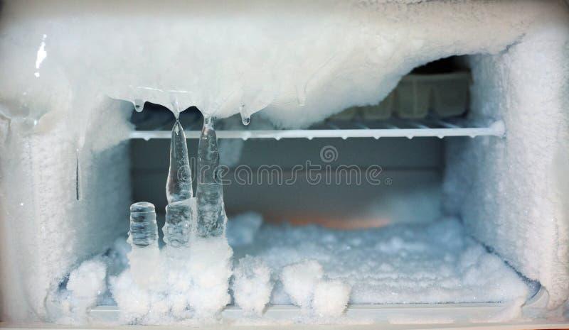 Ice crystals icebox freezer in refrigerator stock photography