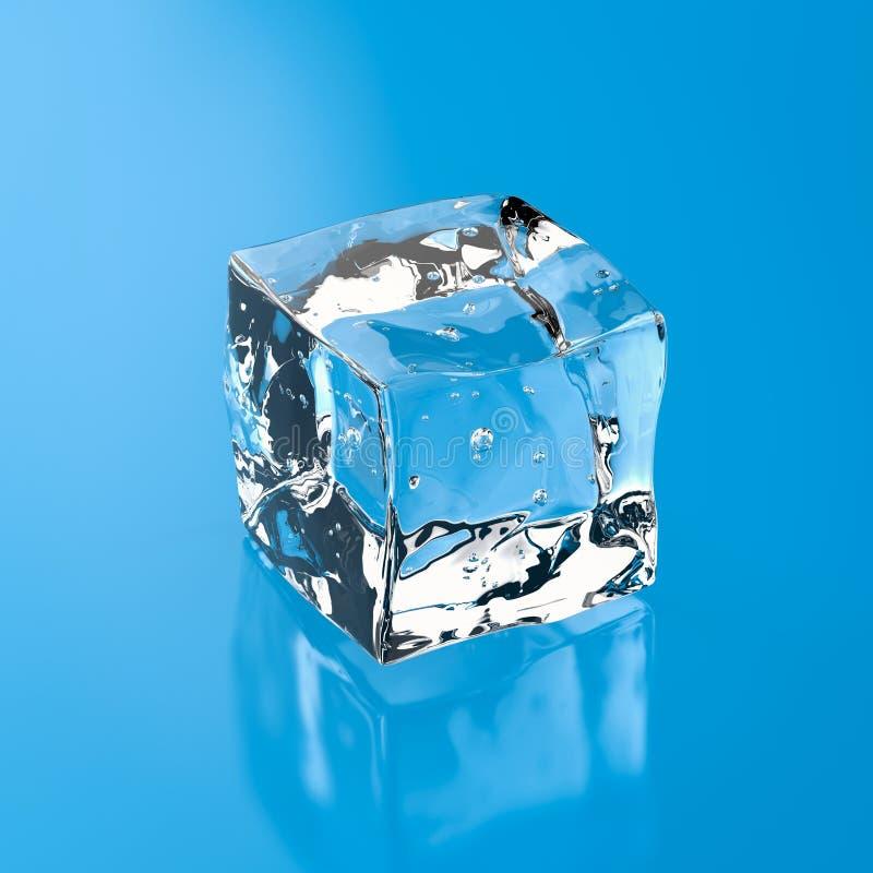 Ice cube on blue background stock photo
