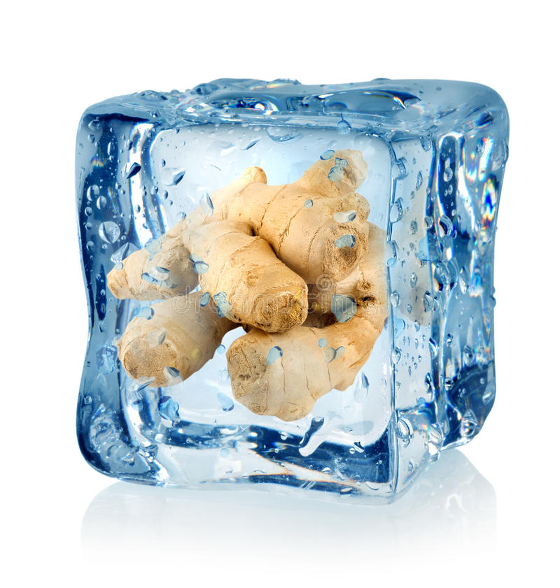 Ice cube and ginger. Isolated on a white background royalty free stock photography