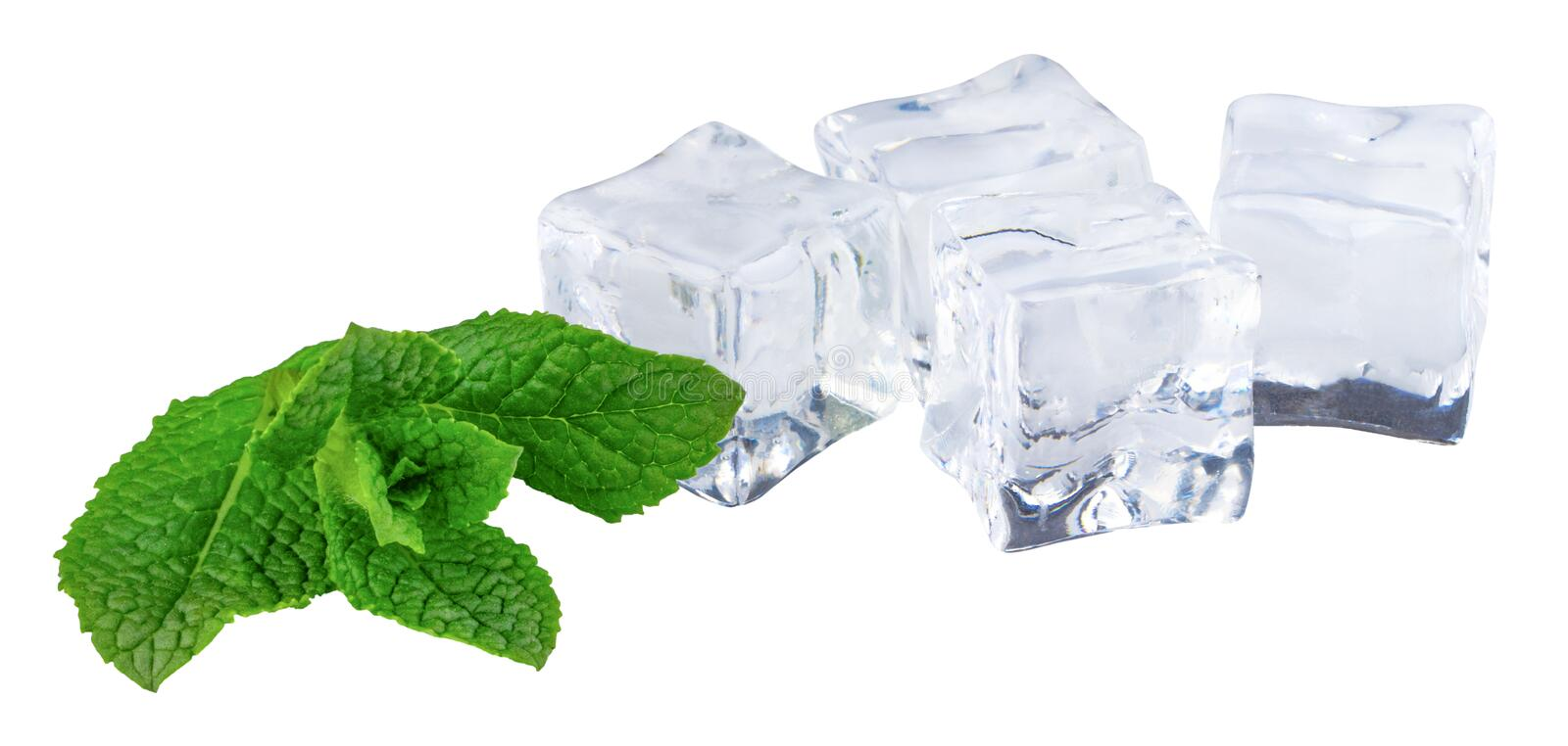 Ice cube with mint leaves isolated on white background.  royalty free stock photos